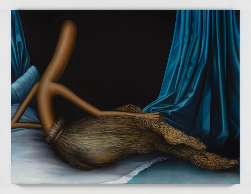 Emily Mae Smith, Gleaner Odalisque, 2019, oil on linen, 129.5 x 170.2 cm | 51 x 67 inch