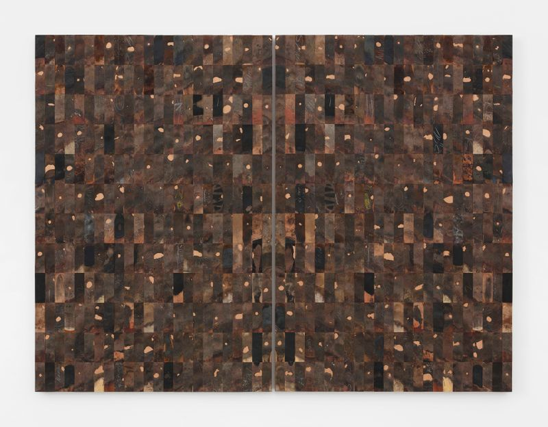 576 - I / Pi, 2016, leather, wood, 180 x 240 x 6 cm | 70 7/8 x 94 1/2 x 2 3/8 in