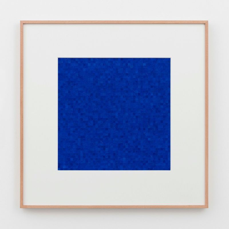 Gabriel de la Mora, 2,025 II, 2019. Feather, pigment, wood frame (museum glass). 75 x 75 x 4 cm | 29 1/2 x 29 1/2 x 1 9/16 inch. Courtesy of the artist and Perrotin.