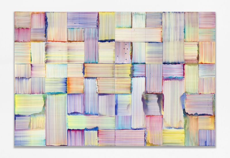 Bernard Frize, Rivka, 2019. Acrylic and resin on canvas. Total dimensions : 243 x 366 cm | 95 11/16 x 144 1/8 inch. Each panel : 243 x 183 cm | 95 11/16 x 72 1/16 inch. Courtesy of the artist and Perrotin.