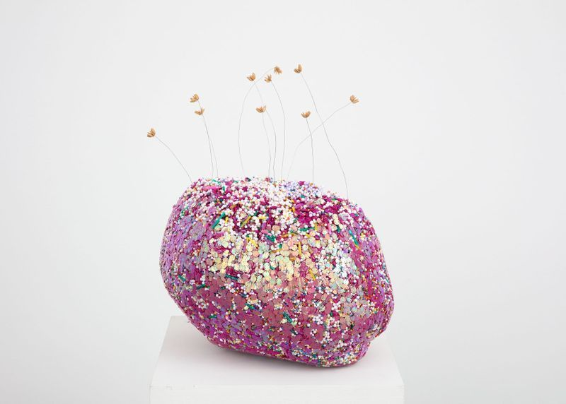 Lionel Estève, Flowers on Rock I, 2019. Polystyrene balls, glitters, glass pearls, plastic pearls, various materials, epoxy, metallic shafts, watermelon pips. 48 x 40 x 30 cm | 18 7/8 x 15 3/4 x 11 13/16 inch. Courtesy of the artist and Perrotin.