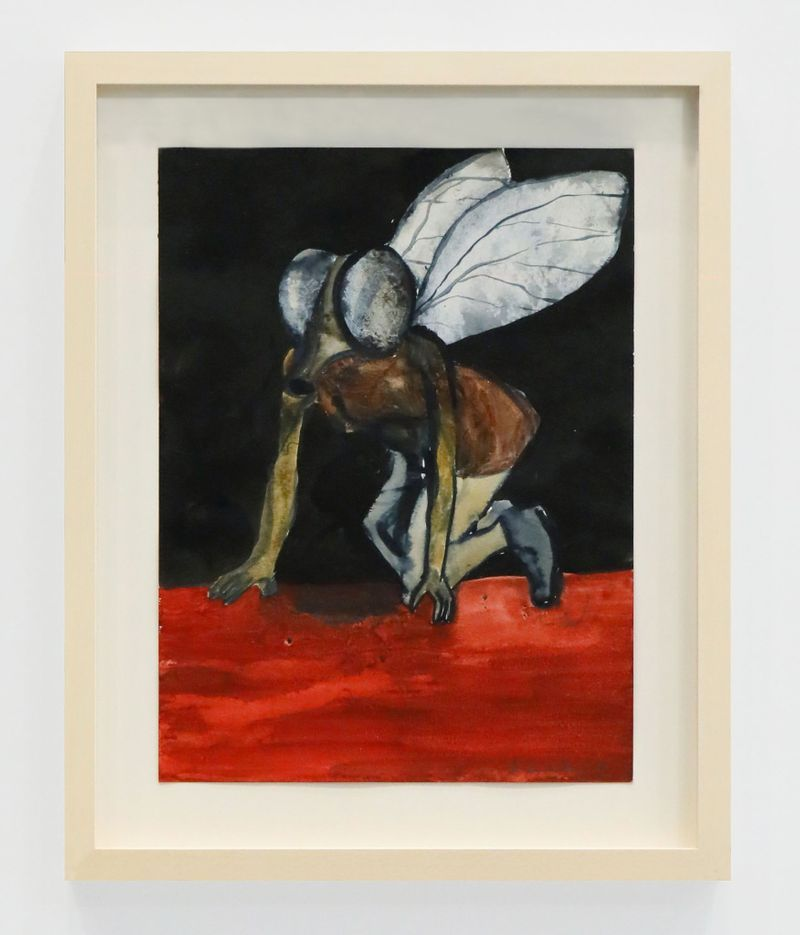 Klara Kristalova, Fly on red carpet (Fly on red carpet), 2019.Ink and watercolour on paper, frame.unframed : 32 x 24 cm | 12 5/8 x 9 7/16 inch.