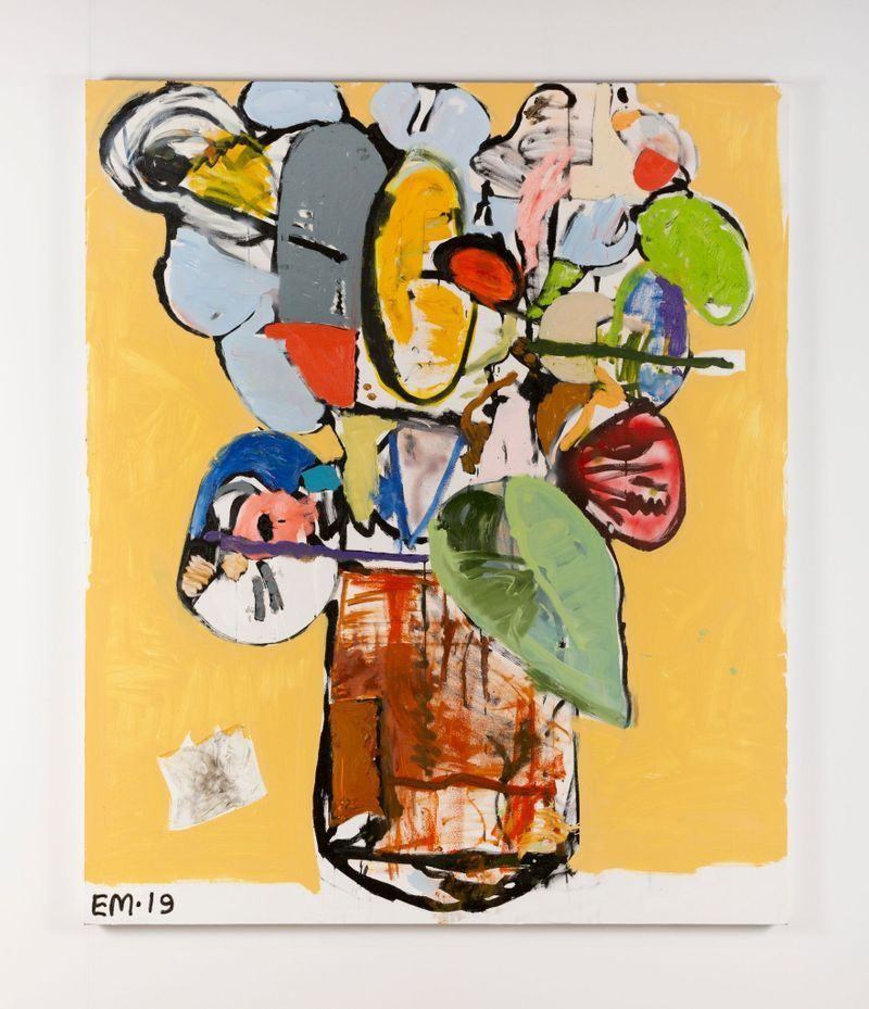 Eddie Martinez, Flowers for Taiwan No.20, 2019.Oil paint, oil bar, spray paint, acrylic paint and baby wipe collage on canvas.182.9 x 152.4 cm | 72 x 60 inch.