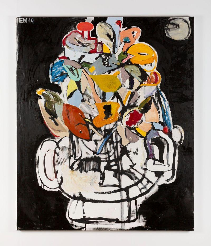 Eddie Martinez, Flowers for Taiwan No.21, 2019.Oil paint, oil bar, acrylic paint, and spray paint on canvas.182.9 x 152.4 cm | 72 x 60 inch.