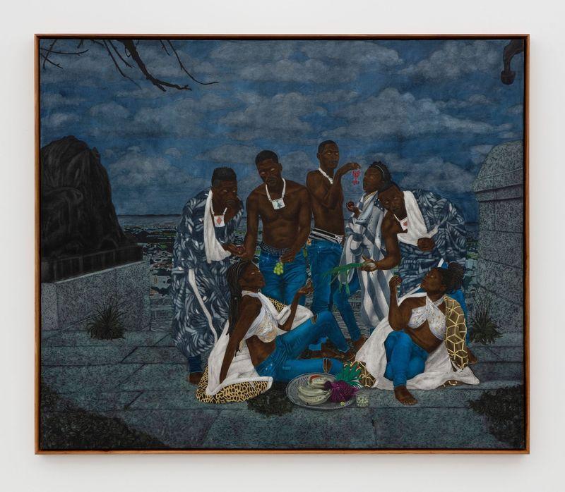 Cinga Samson, Inyongo 1, 2020.Oil on canvas.Framed : 226 x 266 cm | 89 x 104 3/4 inch.