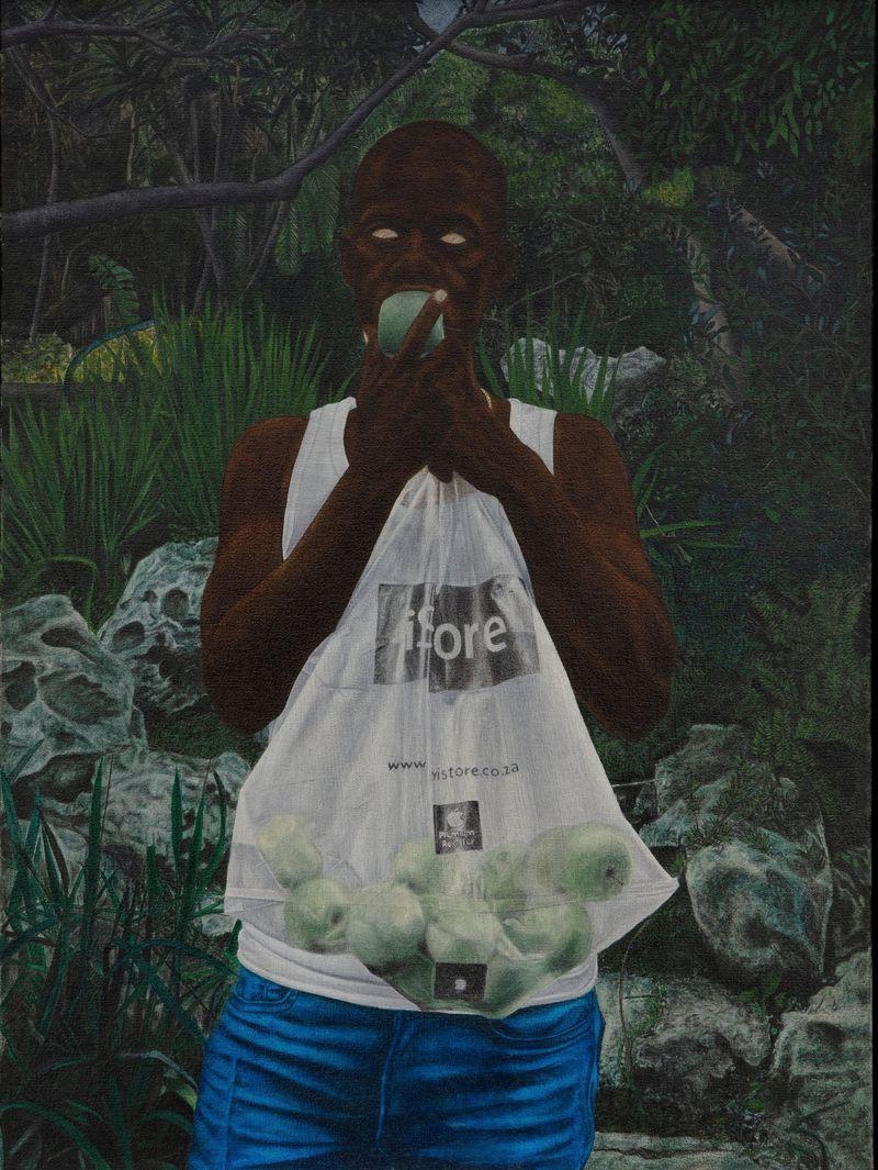 Cinga Samson, Ibhungane 3, 2020.Oil on canvas.Framed : 83.5 x 64 cm | 32 7/8 x 25 3/16 inch.