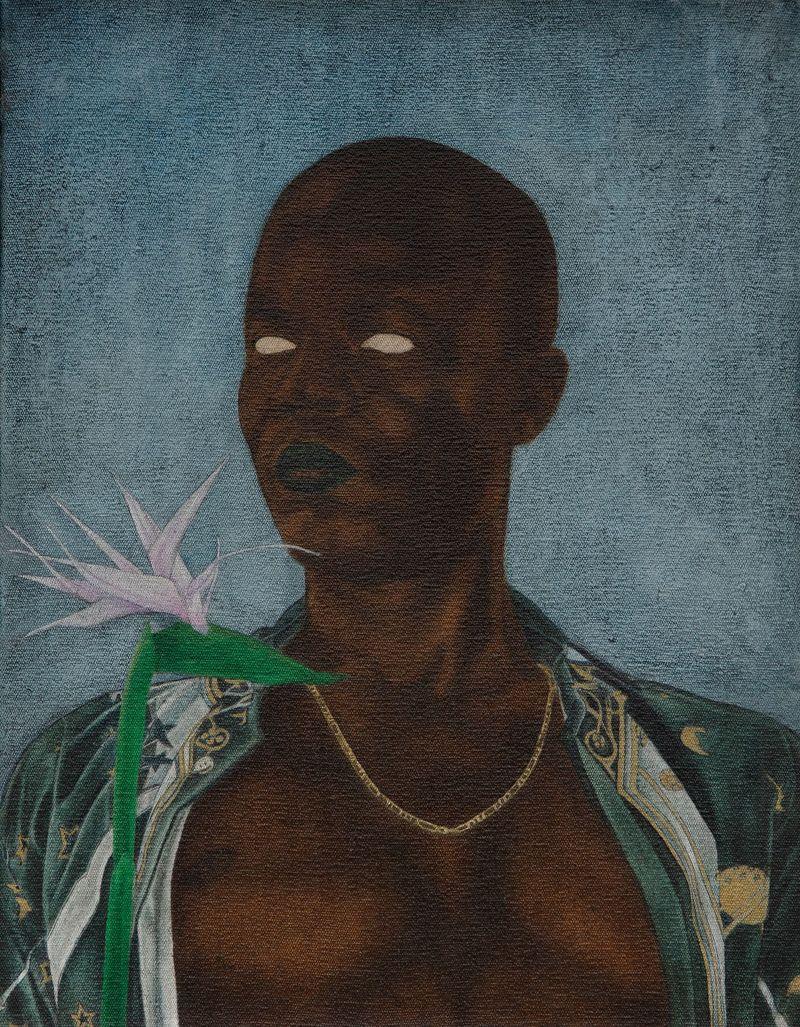 Cinga Samson, Into Entle 1, 2020.Oil on canvas.Framed : 49 x 39.5 cm | 19 5/16 x 15 9/16 in.