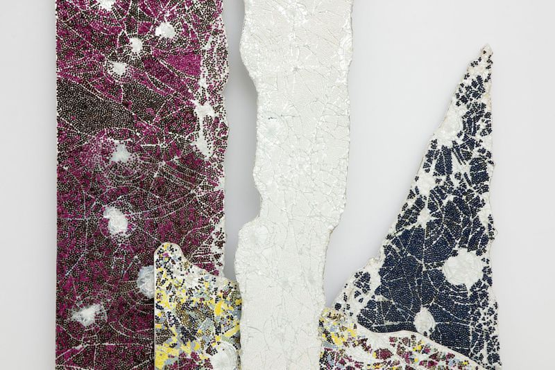 """Bharti Kher, """"The single white line that heard the future calling"""" (detail), 2019. Bindis on smashed mirrors. 278 x 233 x 32 cm 