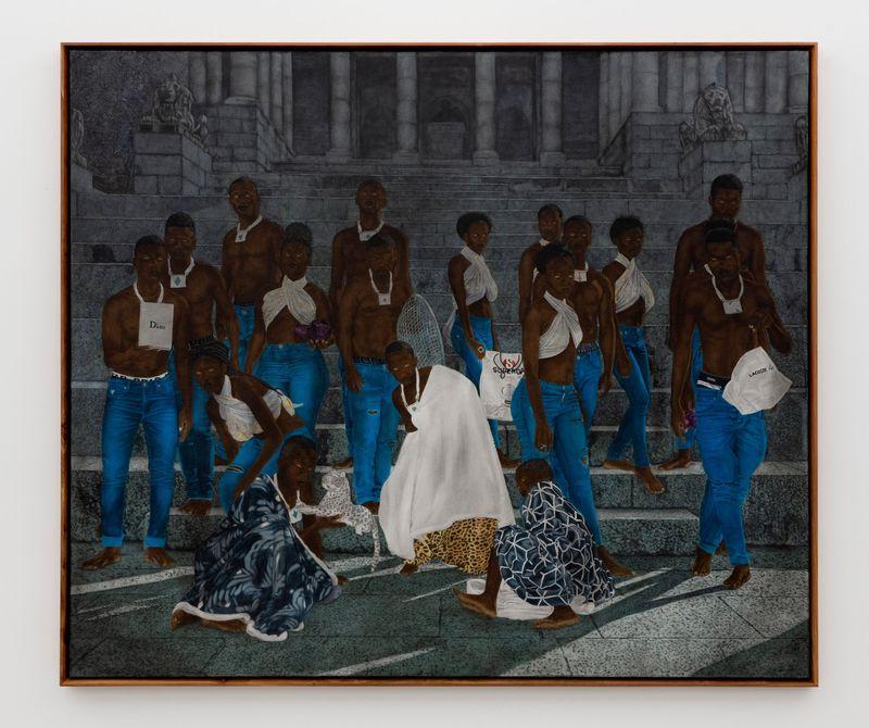 Cinga Samson, Inyongo 3, 2020.Oil on canvas.With frame : 226 x 266 cm | 89 x 104 3/4 inch.