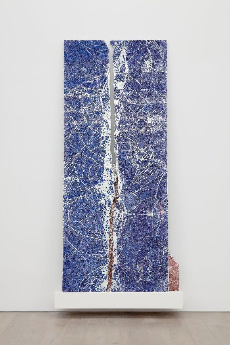 "Bharti Kher, ""Gentle Bitch"", 2020. Bindis on smashed mirrors. 305 x 142 x 32 cm | 120 1/16 x 55 7/8 x 12 5/8 inch. unique"