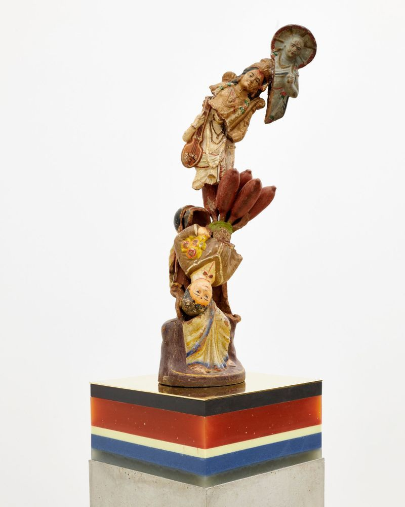 """Bharti Kher, """"The great seat of learning"""", 2019. Clay, cement, wax, copper/brass. 164 x 29 x 29 cm 