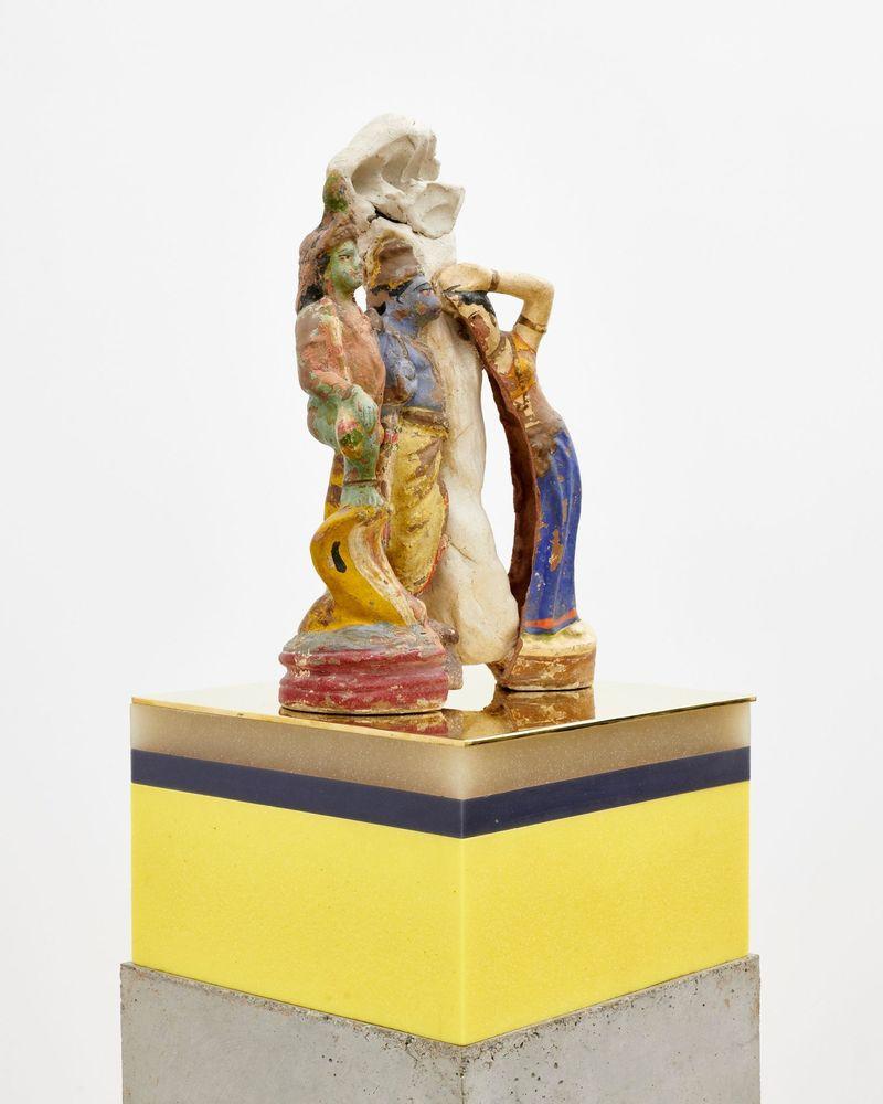 "Bharti Kher, ""Mash up"", 2019. Clay, cement, wax, copper/brass. 151 x 16.5 x 16.5 cm | 59 7/16 x 6 1/2 x 6 1/2 inch. unique"