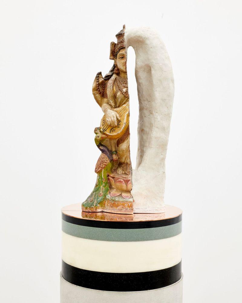 "Bharti Kher, ""Self-portrait"", 2019. Clay, cement, wax, copper/brass. 168 cm, Ø 30.5 cm | 66 1/8 inch, Ø 12 1/16 inch. unique"