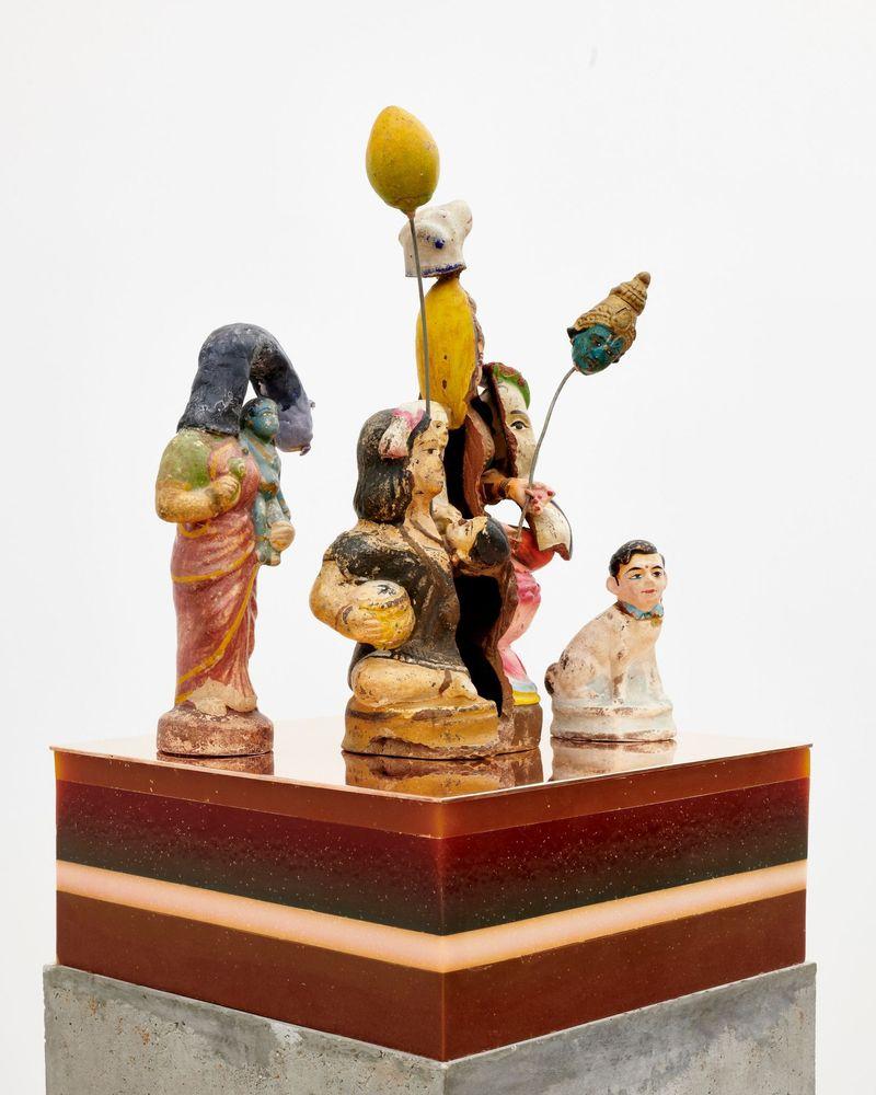 "Bharti Kher, ""The players"", 2019. Clay, cement, wax, copper/brass. 175 x 29 x 29 cm | 68 7/8 x 11 7/16 x 11 7/16 inch. unique"