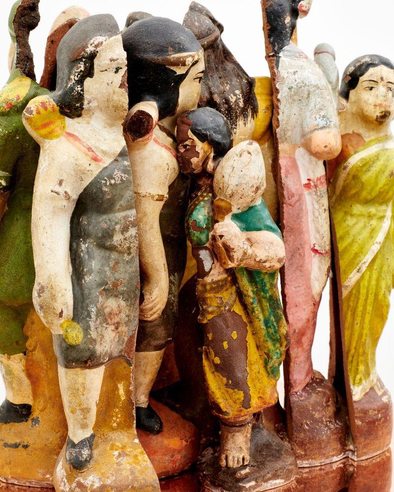 "Bharti Kher, ""An Indian queue of sorts"" (detail), 2019. Clay, cement, wax, copper/brass. 160 cm, Ø 24.5 cm | 63 inch, Ø 9 5/8 inch. unique"