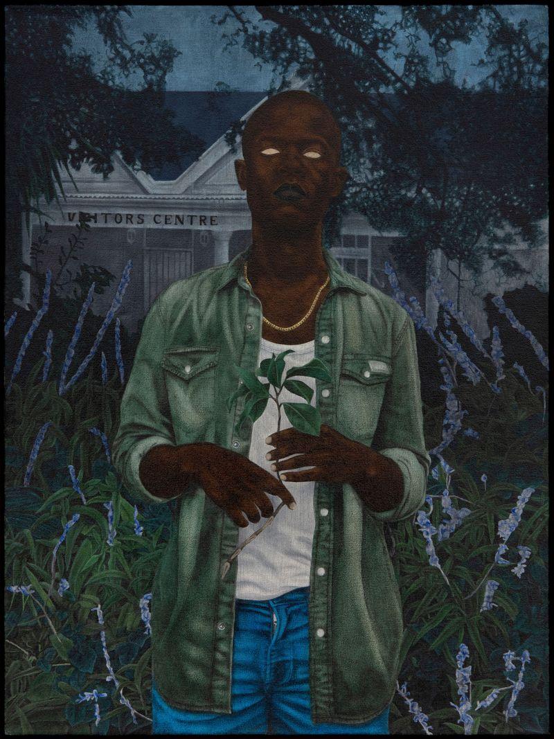 Cinga Samson, Ibhungane 9, 2020Oil on canvasFramed : 83.5 x 64 cm | 32 7/8 x 25 3/16 inch.