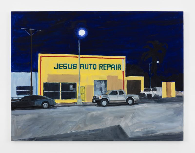 "Jean-Philippe Delhomme, ""Jesus Auto Repair,"" 2019, Oil on canvas, 114.3 x 152.4 cm | 45 x 60 inch, unique"