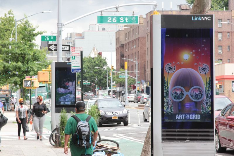 Emily Mae Smith, Revenge of the Flowers, 2020. As a part of Art on the Grid, presented by Public Art Fund on JCDecaux bus shelters citywide.