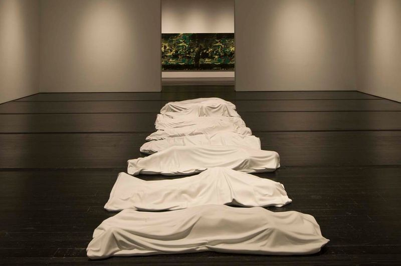 """All"" 2007 / Group of 9 sculptures in white marble of Carrara / 11 3/4 inches x 39 1/2 inches x 6.6 feet (x 9)"