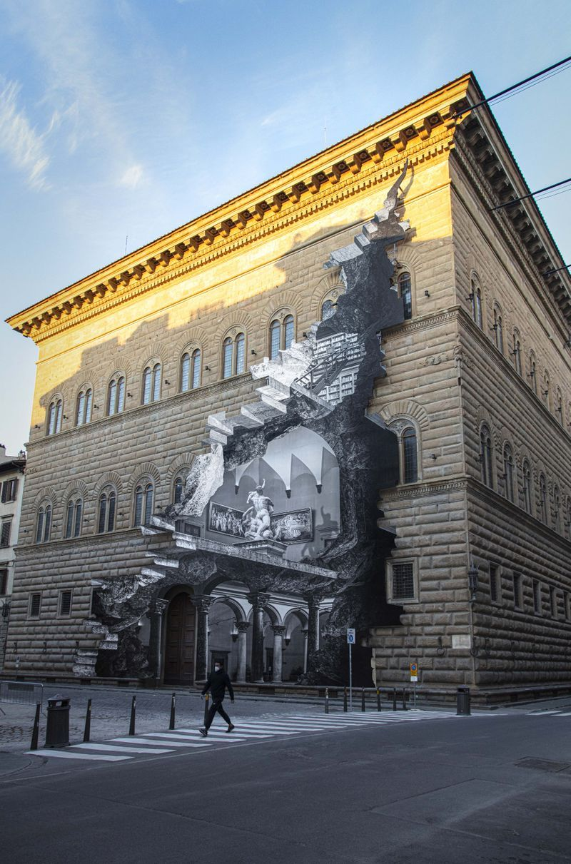 Palazzo Strozzi, Sunlight, Florence, Italy, 2021