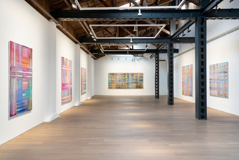 """Bernard_Frize_View of the exhibition """"The Other Side (from right-to-left or the Reverse)"""" at Perrotin, Shanghai (Chine), 2021_27145"""