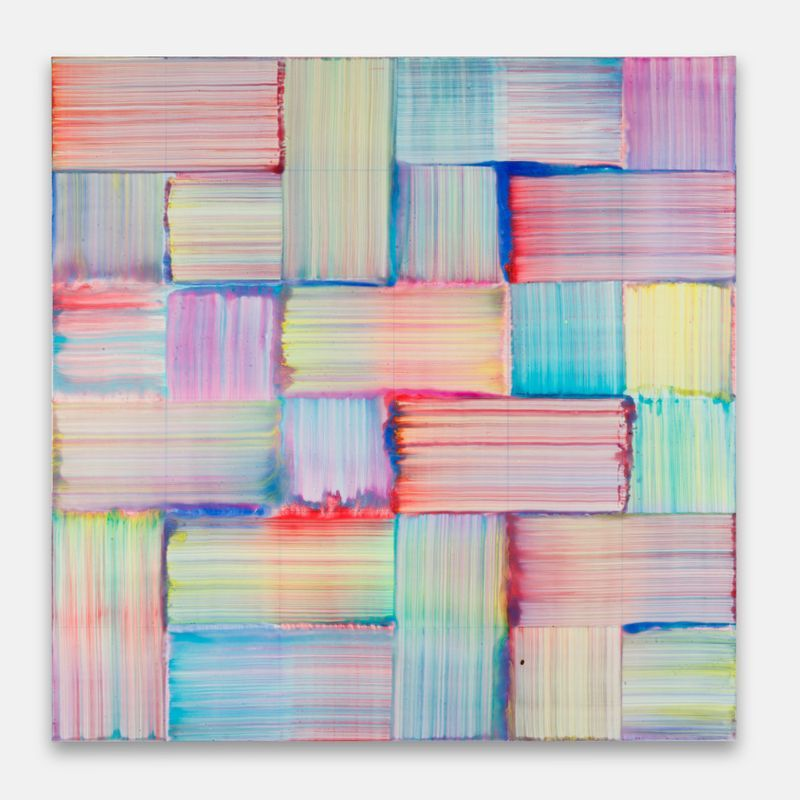 """Bernard FRIZE, """"Yoe"""", 2020, Acrylic and resin on canvas, wooden frame, 122 x 122 x 2 cm - 48 1/16 x 48 1/16 x 0 13/16 inch, unique"""
