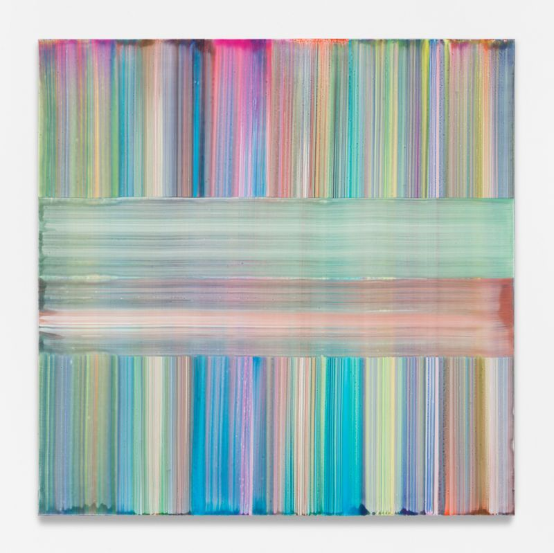 """Bernard FRIZE, """"Miena"""", 2020, Acrylic and resin on canvas, wooden frame, 180 x 180 x 2 cm - 70 7/8 x 70 7/8 x 0 13/16 inch, unique"""