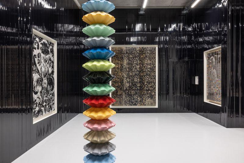 """Gregor_Hildebrandt_View of the group exhibition """"Voyages immobiles – Le grand tour"""", Diptyque"""" curated by Jérôme Sans  at La Poste du Louvre Paris (France), 2021_28504"""