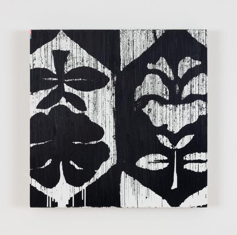 White flower pointing up (Alphaville), 2021.Audio cassette tape, acrylic on canvas.49 x 49 cm   19 5/16 x 19 5/16 inch.unique