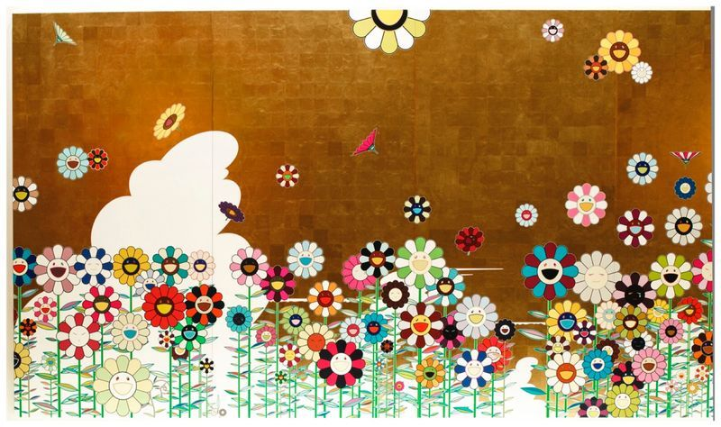"""Kawaii - vacances "", 2008 / Acrylic and gold leaf on canvas mounted on aluminium frame300 x 900 cm / 9.80 x 29.6 feet /Unique"