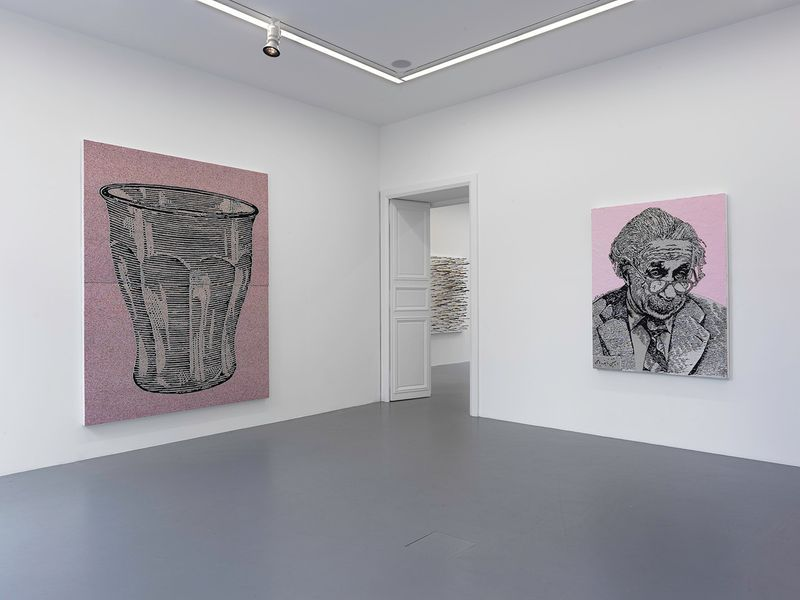 """View of the exhibition """" FIRE OF JOY """", Galerie Perrotin, Paris,  2012On left : """"Glass"""", 2012 / Hand embroidery and acrylic on canvas / 262 x 202 x 6 cm, 8.7 feet x 6.7 feet x 2 1/2 inches (2 panels 131 x 202 cm)  / Unique  On right : """"Einstein"""", 2012 / Hand embroidery and acrylic on canvas / 168 x 126 x 7 cm, 66 1/4 x 49 1/2 x 2 3/4 inches / Unique"""