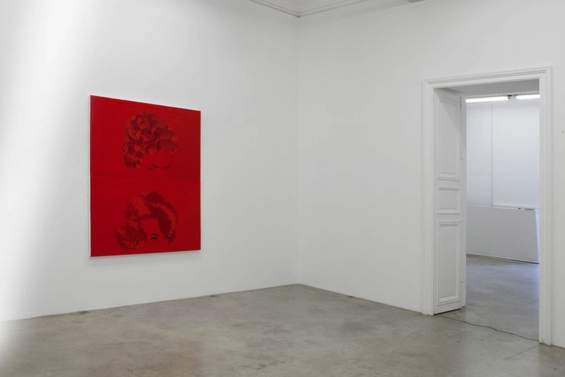 """View of the exhibition """" FIRE OF JOY """", Galerie Perrotin, Paris,  2012""""Curl"""", 2012 / Hand embroidery on canvas / 186 x 146 x 5 cm (93 x 147 x 7 cm each), 6.1 feet x 57 1/2 inches x 2 inches / Unique"""