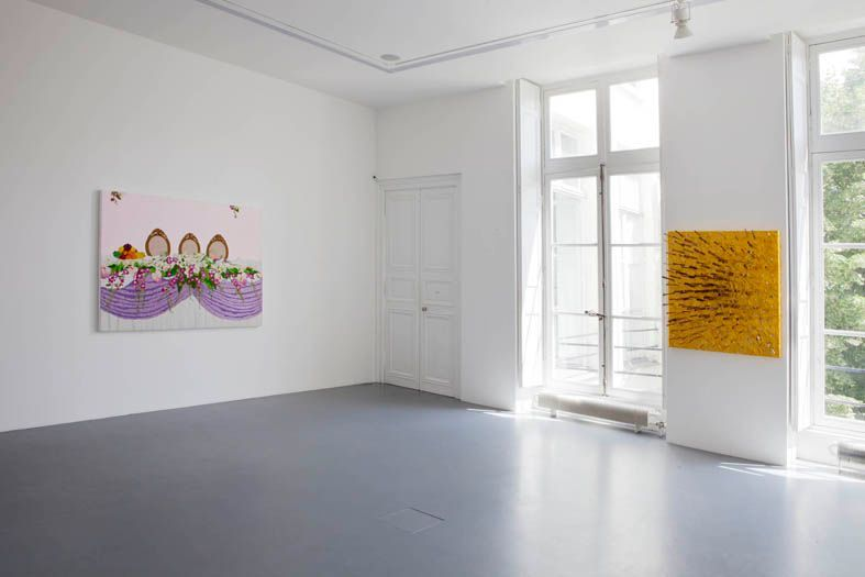 """View of the exhibition """" FIRE OF JOY """", Galerie Perrotin, Paris,  2012On left : """"Three Cheers"""", 2012 / Hand embroidery and acrylic on canvas / 141 x 186 x 5 cm, 55 1/2 inches x 6.1 feet x 2 inches / Unique On right : """"Raw and Silver Knife on gold Frosting"""", 2012 / Knives, acrylic, goldleaf and glaze on canvas / 116 x 100 x 35 cm, 45 3/4 x 39 1/2 x 13 3/4 inches / Unique"""