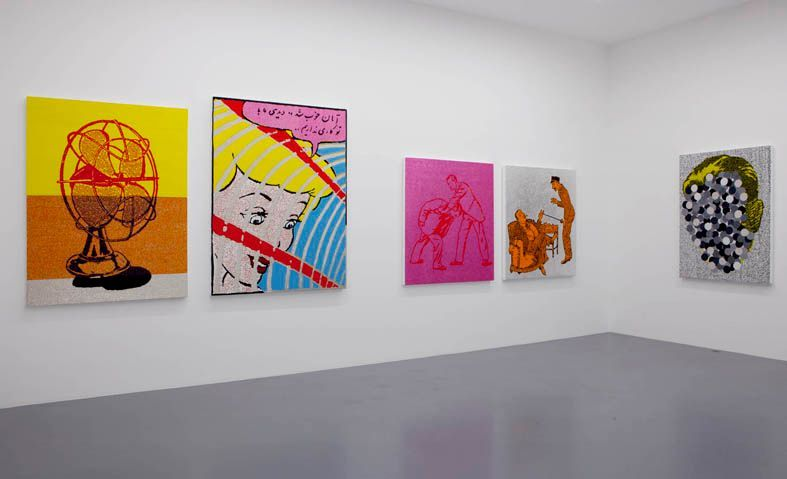 """View of the exhibition """" FIRE OF JOY """", Galerie Perrotin, Paris,  2012From left to right : """"Fan"""", 2012 / Hand embroidery on canvas / 169 x 127 x 5 cm, 66 1/2 x 50 1/2 x 2 inches / Unique  Uncaged"""", 2012 / Hand embroidery on canvas / 182 x 136 x 6 cm, 71 3/4 x 53 1/2 x 2 1/2 inches / Unique """"Street Fighter"""", 2012 / Hand embroidery on canvas / 137 x 122 x 5 cm, 54 x 48 x 2 inches / Unique """"Yoyo"""", 2012 // Hand embroidery, acrylic, silverleaf and glaze on canvas  / 136 x 119 x 6 cm, 53 1/2 x 46 3/4 x 2 1/2 inches / Unique """"Mystery Man"""", 2012 / Hand embroidery on canvas / 149 x 109 x 6 cm, 58 3/4 x 43 x 2 1/2 inches / Unique"""