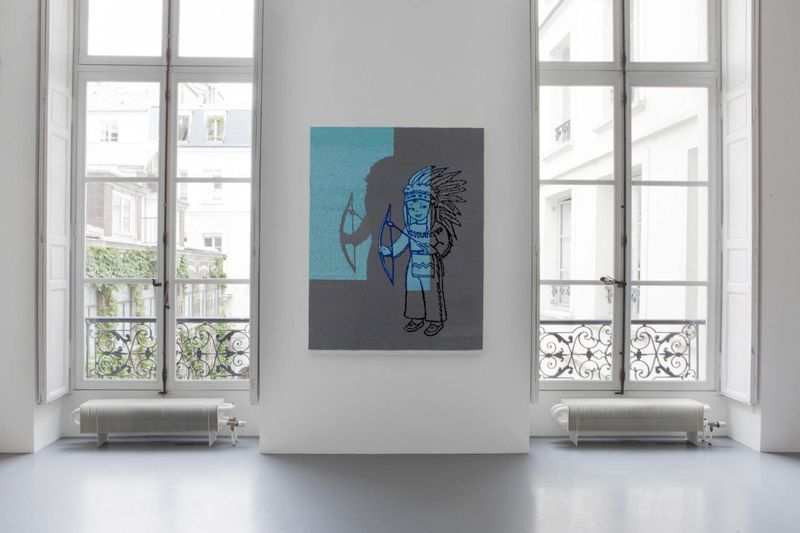 """View of the exhibition """" FIRE OF JOY """", Galerie Perrotin, Paris,  2012""""Indian Boy in the Spot Light"""", 2012 / Hand embroidery and sequins on canvas / 170 x 129 x 6 cm, 67 x 50 3/4 inches / Unique"""