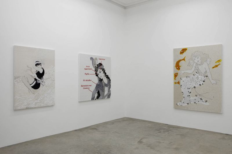 """View of the exhibition """" FIRE OF JOY """", Galerie Perrotin, Paris,  2012From left to right : """"Splash"""", 2012 / Hand embroidery on canvas / 150 x 107 x 5 cm, 59 x 42 1/4 x 2 inches / Unique  """"Anatomy of a Woman 2"""", 2012 / Hand embroidery and crystal on canvas / 148 x 143 x 5 cm, 58 1/4 x 56 x 2 inches / Unique  """"Mermaid"""", 2012 / Hand embroidery and crystal on canvas / 197 x 145 x 5 cm, 6.5 feet x 57 inches x 2 inches / Unique"""