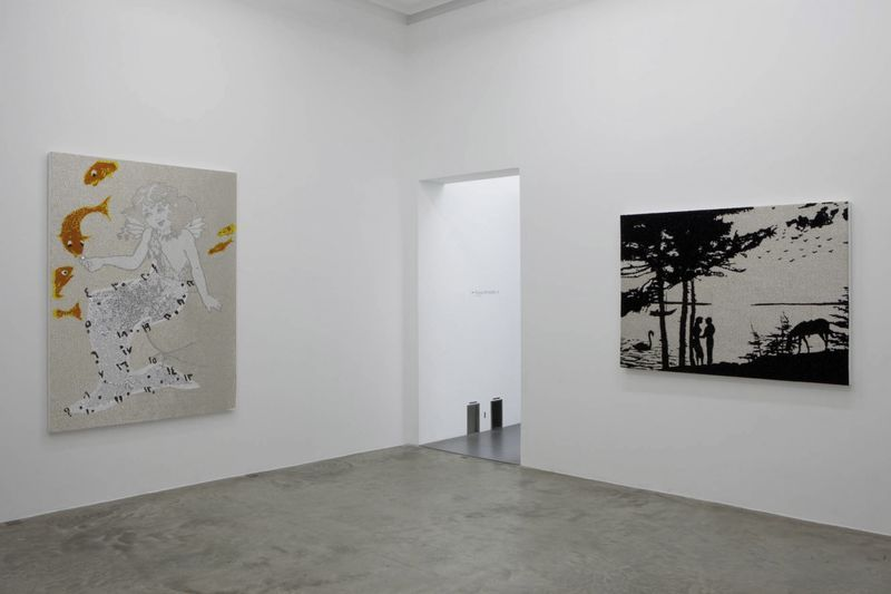 """View of the exhibition """" FIRE OF JOY """", Galerie Perrotin, Paris,  2012On left : """"Mermaid"""", 2012 / Hand embroidery and crystal on canvas / 197 x 145 x 5 cm, 6.5 feet x 57 inches x 2 inches / Unique  On right : """"Sunset"""", 2012 / Hand embroidery and acrylic on canvas / 122 x 168 x 6 cm, 48 x 66 1/4 x 2 1/2 inches / Unique"""