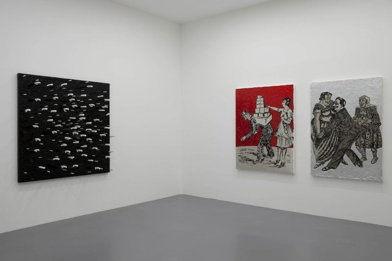 """View of the exhibition """" FIRE OF JOY """", Galerie Perrotin, Paris,  2012From left to right : """"White Knife on Black Frosting"""" 2012 / Knives and acrylic on canvas / 170 x 171 x 47 cm, 67 x 67 1/4 x 18 inches / Unique """"Blocks"""", 2012 / Hand embroidery, acrylic and glaze on canvas / 167 x 128 x 7 cm, 65 3/4 x 50 1/2 x 2 3/4 inches / Unique  """"Tango"""", 2012 / Hand embroidery, acrylic, silverleaf and glaze on canvas / 167 x 117 x 7 cm, 65 3/4 x 46 x 2 3/4 inches / Unique"""