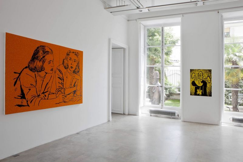 """View of the exhibition """" FIRE OF JOY """", Galerie Perrotin, Paris,  2012On left : """"Fire of Joy"""", 2012 / Hand embroidery on canvas / 151 x 213 x 5 cm, 59 1/2 inches x 6.11 feet x 2 inches (2 panels 151 x 125 x 5 cm and 151 x 88 x 5 cm) / Unique  On right : """"Sneeze"""", 2012 / Hand embroidery on canvas / 100 x 73 x 5 cm, 39 1/2 x 28 3/4 x 2 inches / Unique"""