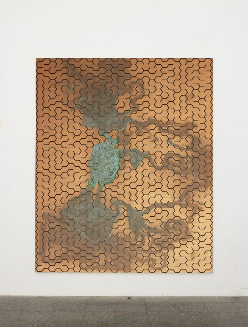 "View of the exhibition ""Freedom Fries am Arbeitsplatz"" at Galerie Perrotin, Paris (France), 2013""Maze 77"", 2013 / Acrylic screen print and acid on copper primed canvas / 230 x 190 cm, 90 1/2 x 74 3/4 inches / Unique"