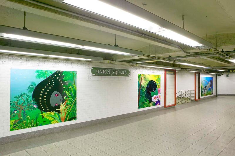 """Chiho_Aoshima_View of the exhibition """"Union Square Subway Station Installation / 2005"""" at Union Square Subway Station (USA), 2005_558_1"""