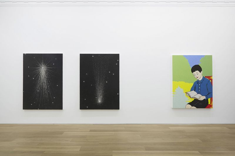 """From left to right  """"Rising Star"""", 2014 / Acrylic, beads and crystal on canvas on board / 196 x 140 x 8 cm, 77 1/8 x 55 1/8 x 3 1/8 inches / Unique  """"Falling Star"""", 2014 / Acrylic, beads and crystal on canvas on board / 195 x 140 cm, 76 3/4 x 55 1/8 inches / Unique  """"Storyteller"""", 2014 / Acrylic beads and crystal on canvas on board / 185 x 141 x 10 cm, 72 3/4 x 55 1/2 x 4 inches / Unique"""