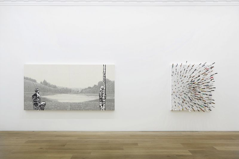 """On left : """"Captive"""", 2014 / Acrylic and beads on canvas on board / 150 x 300 cm, 59 1/16 x 118 1/8 inches /Twp Panels of 150 x 150 cm each / Unique On right : """"Knife on White Frosting"""", 2014 / Acrylic and knives on canvas on board / 150 x 130 cm, 59 1/16 x 51 1/8 inches / Unique"""