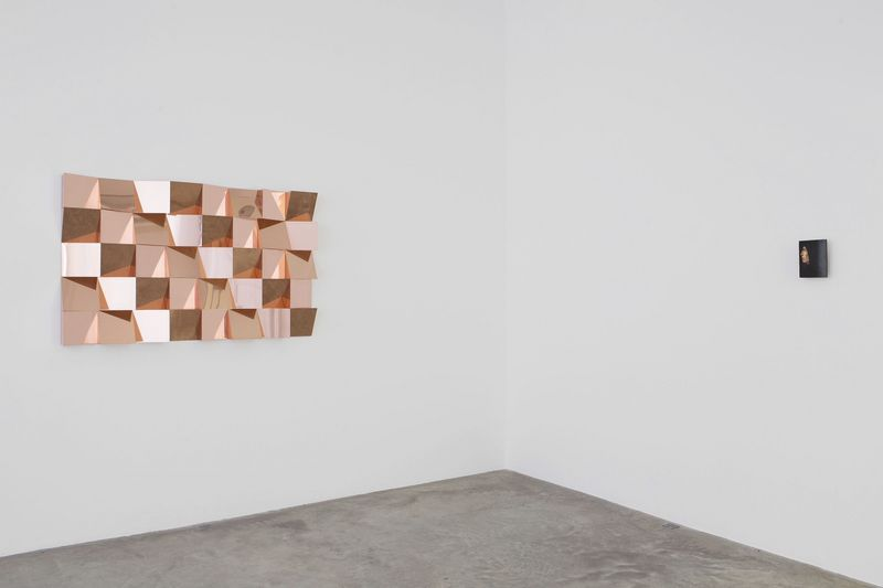 "On left : ""Anechoic Wall "", 2014 / Copper / 100 x 160 x 10 cm, 39 1/4 x 63 x 4 inches / Unique"