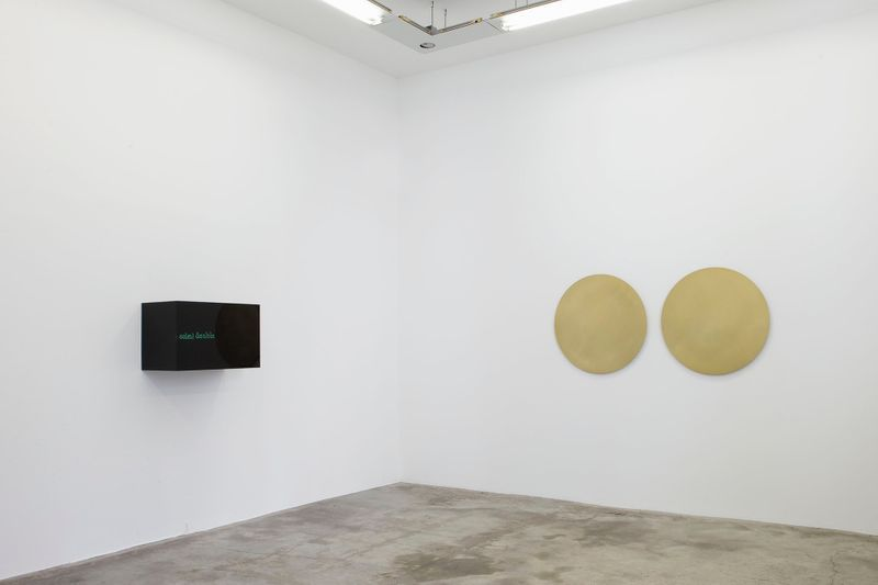 "On left : ""Soleil Double"", 2014 / Neon, black transparent altuglas / 50 x 80 x 42 cm 19 3/4 x 31 1/2 x 16 1/2 inchesOn right : ""Soleil Double"", 2014 / Two brushed brass discs / Ø 90 cm, 35 1/2 inches Ø each"