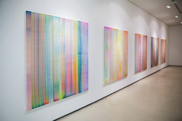 """Bernard_Frize_View of the exhibition """"We have a thread, and we want to know the whole cloth"""" at Johyun Gallery  Busan (South Korea), 2014_8100_1"""
