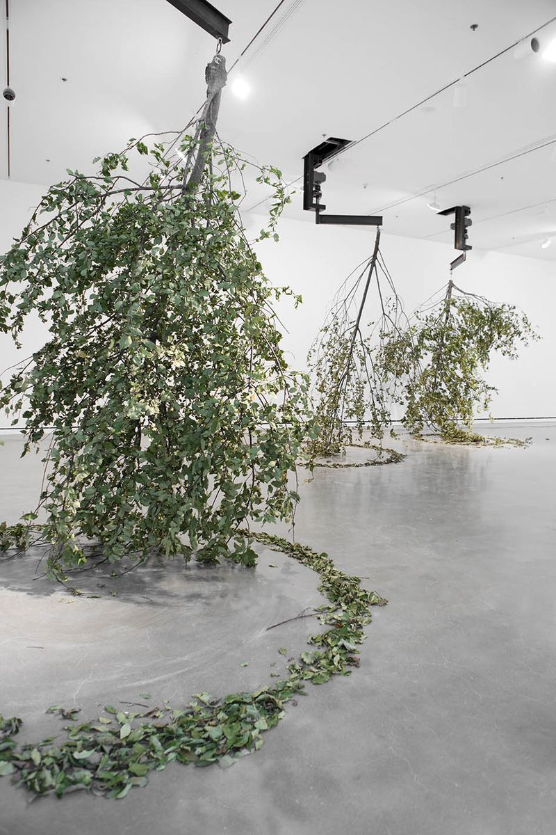 "View of the exhibition ""It Might as Well be Spring"" at Rochester Art Center, Rochester (U.S.A.), 2014-2015""Forst"", 2014/ Trees, engines, steel construction / dimensions variable"