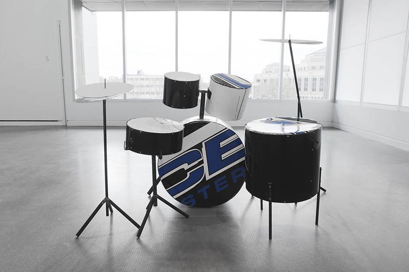 """View of the exhibition """"It Might as Well be Spring"""" at Rochester Art Center, Rochester (U.S.A.), 2014-2015""""Schlagzeug, Rochester"""" (""""Drumkit, Rochester""""), 2014 / Reconfigured Rochester police car"""