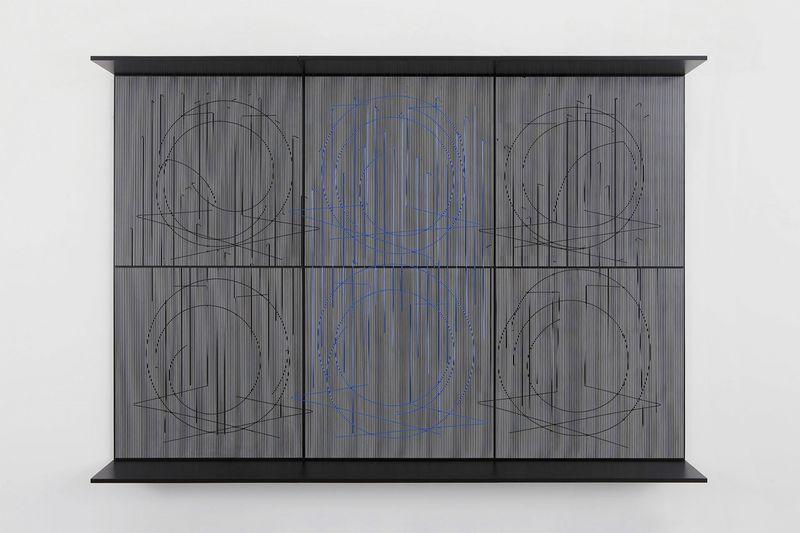 """""""Ecriture bleu central"""" 1999, paint on wood and metal, nylon, unique"""