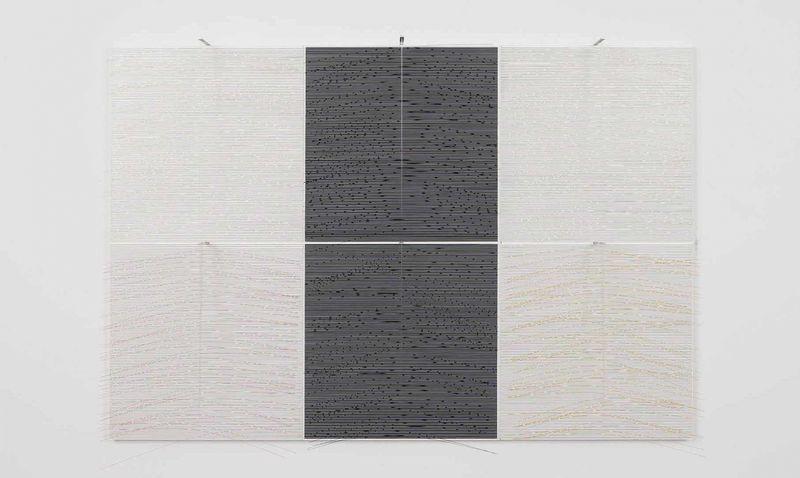 """Seis planos vibrantes"" 1988, paint on wood and metal, nylon"